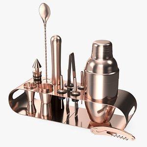 Bartender Kit 12 Piece Copper 3D model