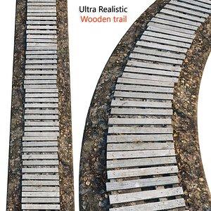 3D Ultra realistic Wooden trail HQ model