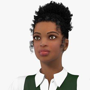 3D Light Skin Black Teenage Schoolgirl Rigged for Maya