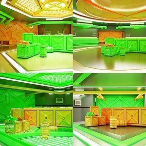 Sci-fi Corridor Set 04 HI-RES model