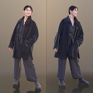 woman young coat 3D model
