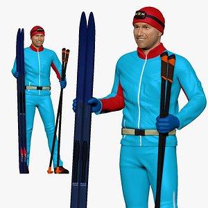 3D model 001174 skiman in blue red haat