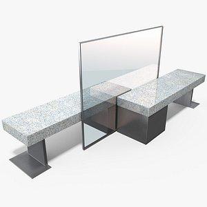 3D street pbr bench model