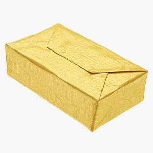 Butter Block in Metallic Gold Foil 3D model