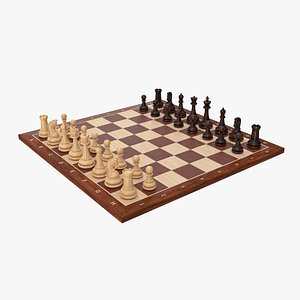 3D chess set wood model