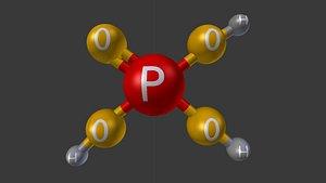 3D phosphoric acid molecule model