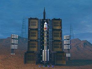3D Rocket launcher Long March rocket Shenzhou rocket model