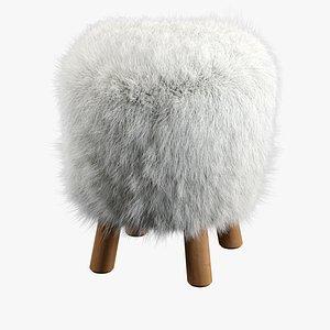 3D model Mongolian Faux Fur Stool by Pottery Barn
