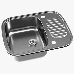 3D model Single Bowl Stainless Steel Reversible Inset Sink