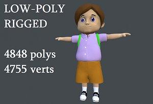 3D model boy schoolboy