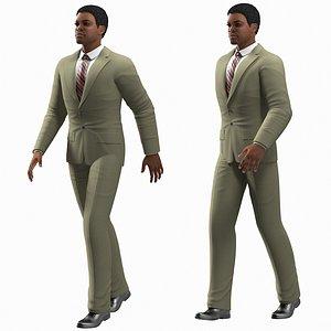 Light Skin Black Man in Formal Suit Rigged for Modo