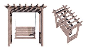 Arbor with swing 3D model
