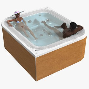 African American Man and Women in Jacuzzi Virtus Hot Tub Rigged model