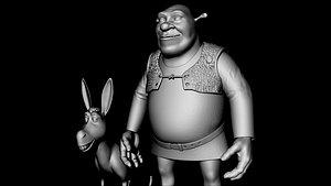 Shreak and donkey Desimated Fbx 3D model