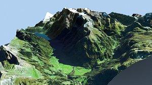 3D Mountain landscape Alps Switzerland model