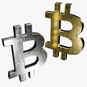 3D symbols silver gold btc