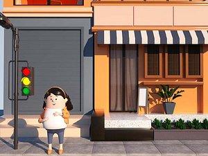 3D Street girl