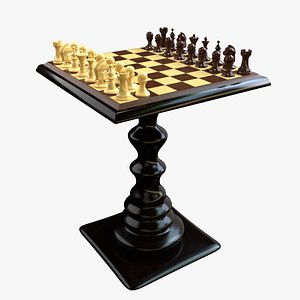 3D chess set wooden