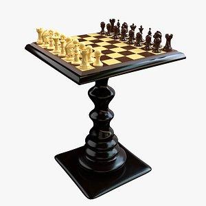 3D chess set wooden