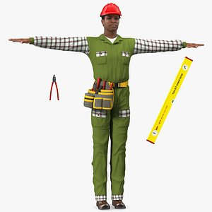 Light Skinned Black Builder T Pose 3D