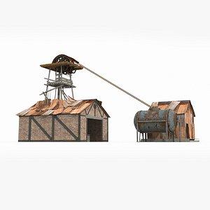 Field logging cabin Tin room 3D model