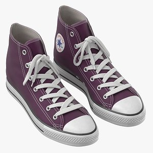 3D Basketball Leather Shoes Purple