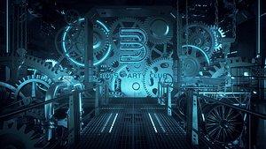 C4D Octane render Steampunk Gear Factory 3D model