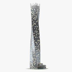 Cayan Tower Skyscraper Night Glow model