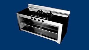 industrial kitchen cooking 3D model