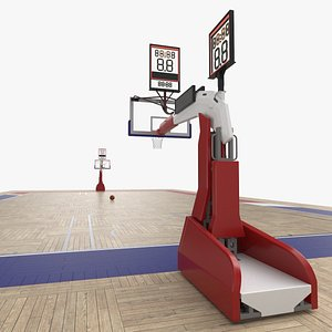 3D Basketball Court and Baskets 03