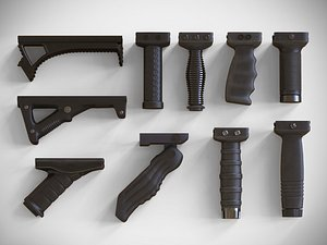 Foregrip Attachments Pack - Vertical - Angled - Folding – Grip - PBR - 4K Textures 3D model