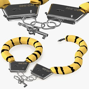 3D unfastened steel tiger handcuffs model