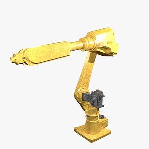 3D model Gold mechanical industrial robotic arm