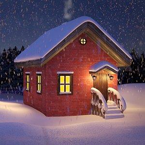 animation falling snow 3D model