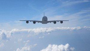 Civil aircraft passenger aircraft fly clouds 3D