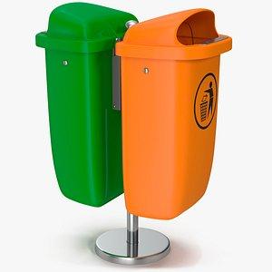 3D Green and Orange Plastic Public Trash Cans model
