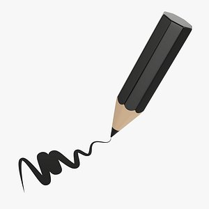 pencil writing tilted 3D model