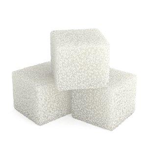 3D pieces white sugar model