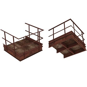 3D Industrial Platforms  Stairs 01 Set PCorridor 01 02 model