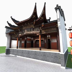stage ancient chinese 3D model