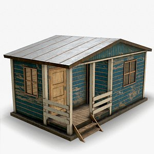 3D weathered worn shed