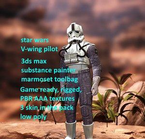 Star Wars Imperial V-wing pilot model