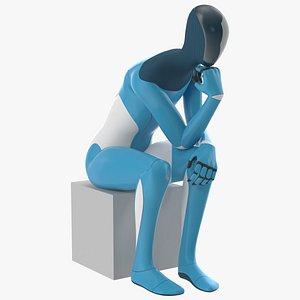 3D Robotic Humanoid Thinker Pose model
