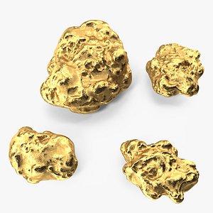 Metallic Gold Big Minerals 3D