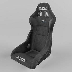 Sparco EVO QRT Sports Racing Seat Suede 3D model