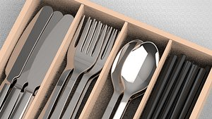 cutlery spoon chopstick 3D