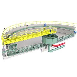 Concrete Wastewater Treatment Plant Inside Diagram 4 3D model