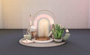3D C4D Morandi color poster furniture scene model