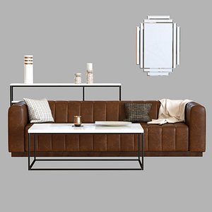 3D channels leather sofa model