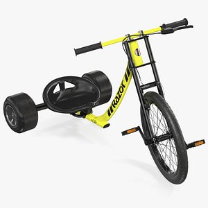 3D Razor DXT Drift Trike Yellow Rigged model